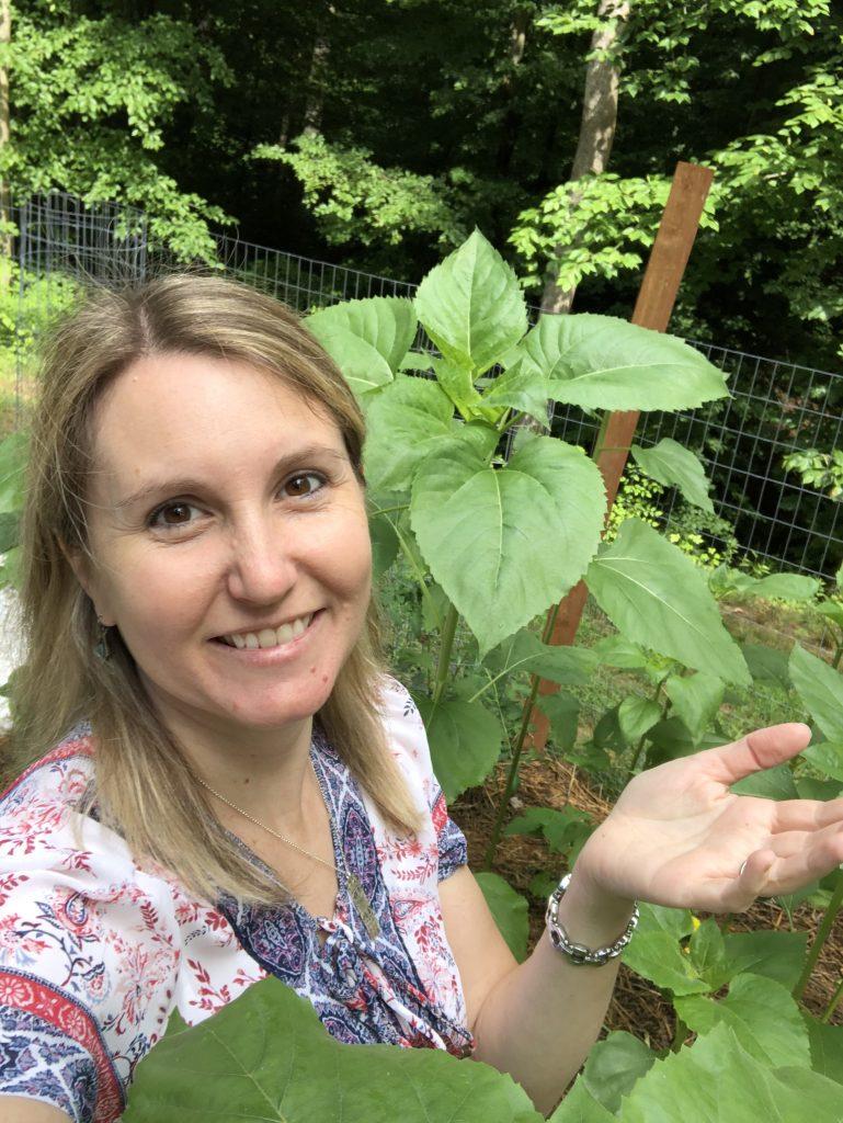Kimber in her garden