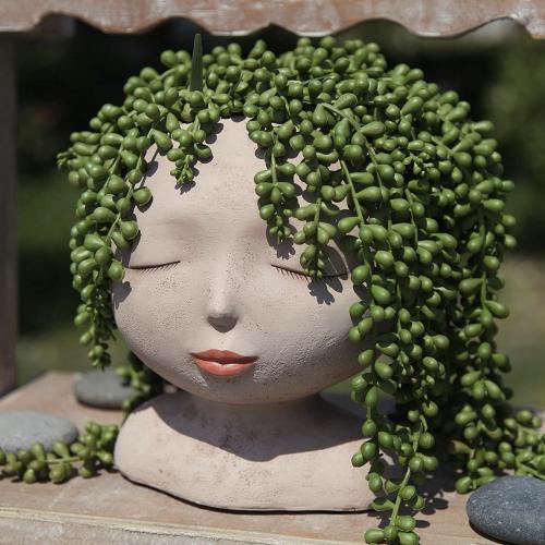 Artsy Head Pot Lady's Face Plant Hair