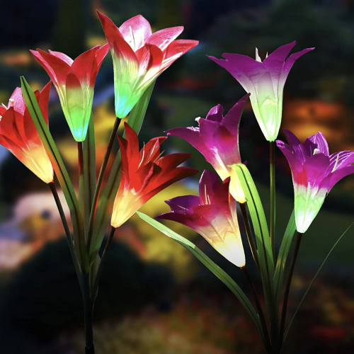 Blooming Lilies Solar Garden Light Stakes
