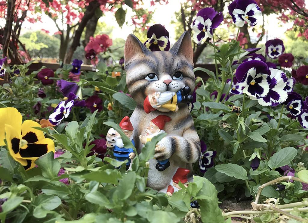 Cat Got Your Gnome Funny Garden Gnome Statue