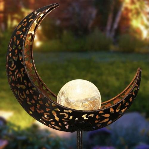 Crescent Moon Crackled Glass Stake Light Solar Garden Light