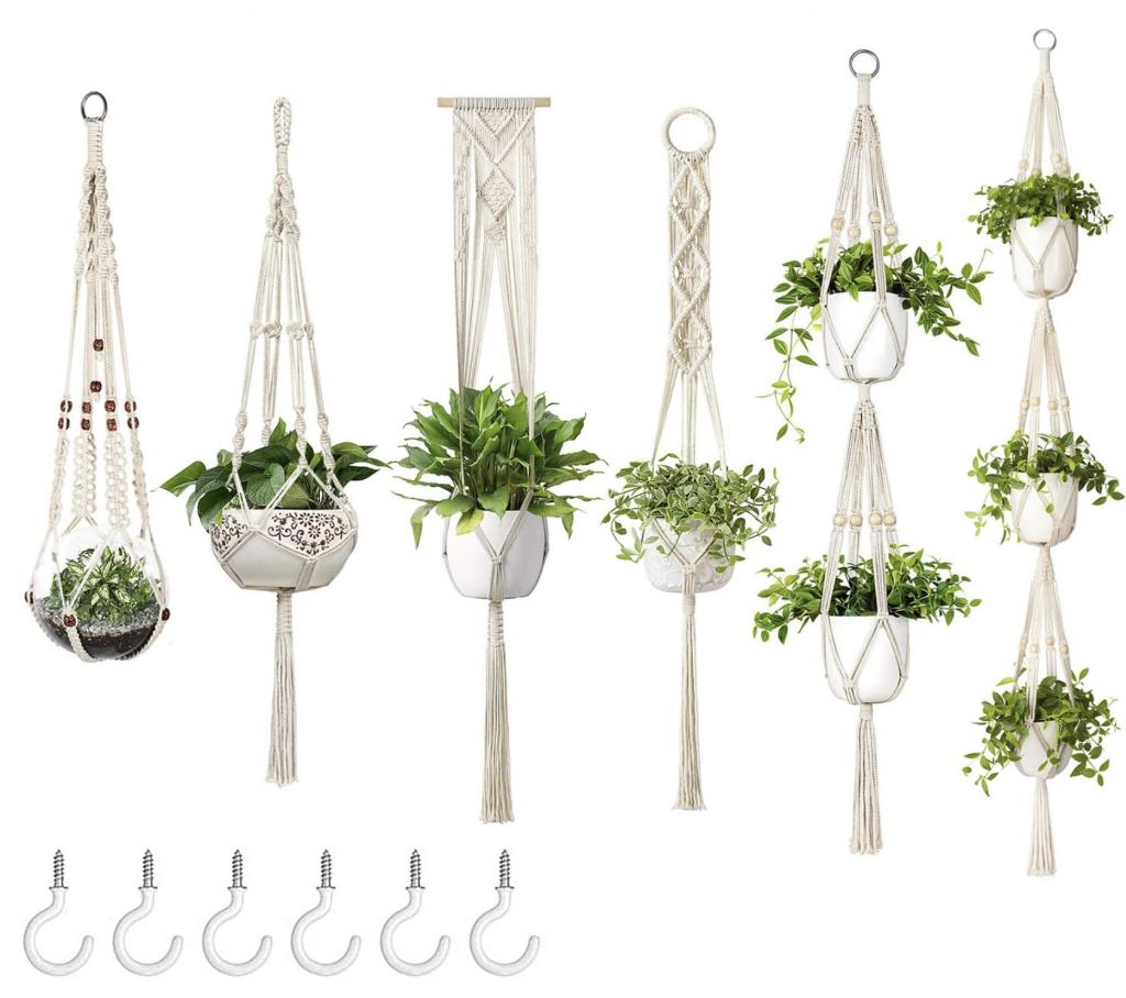 Dahey Macrame Pot Hangers Handmade Cotton Set of Six
