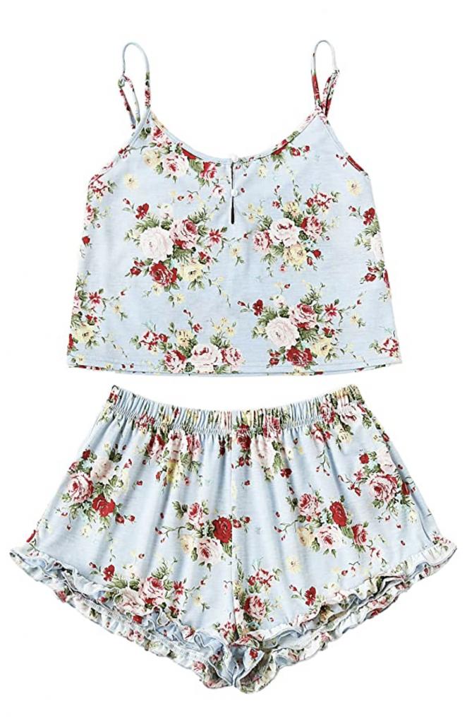Floral PJ Top and Shorts Set Garden Women's Sleepwear