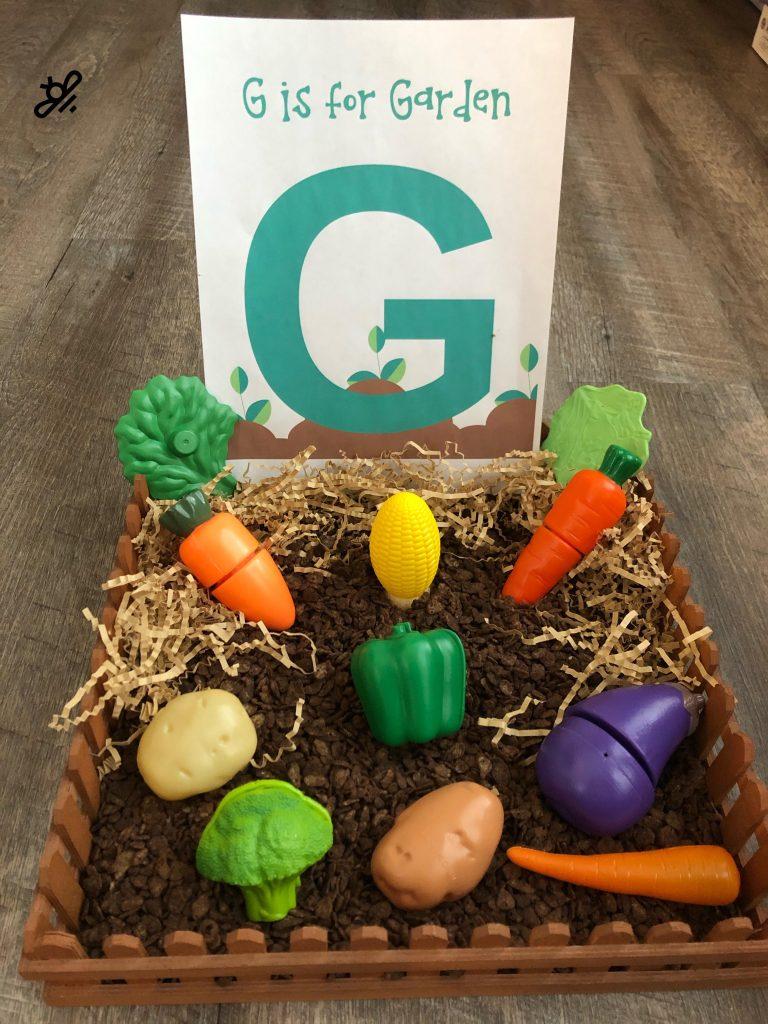 G is for garden sensory bin