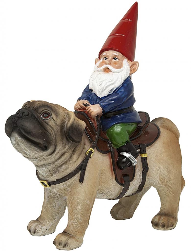 Garden Gnome Riding a Pug Funny Garden Gnome