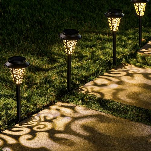 LeiDrail Shadow & Light Solar Pathway Stake Lights Set of Six