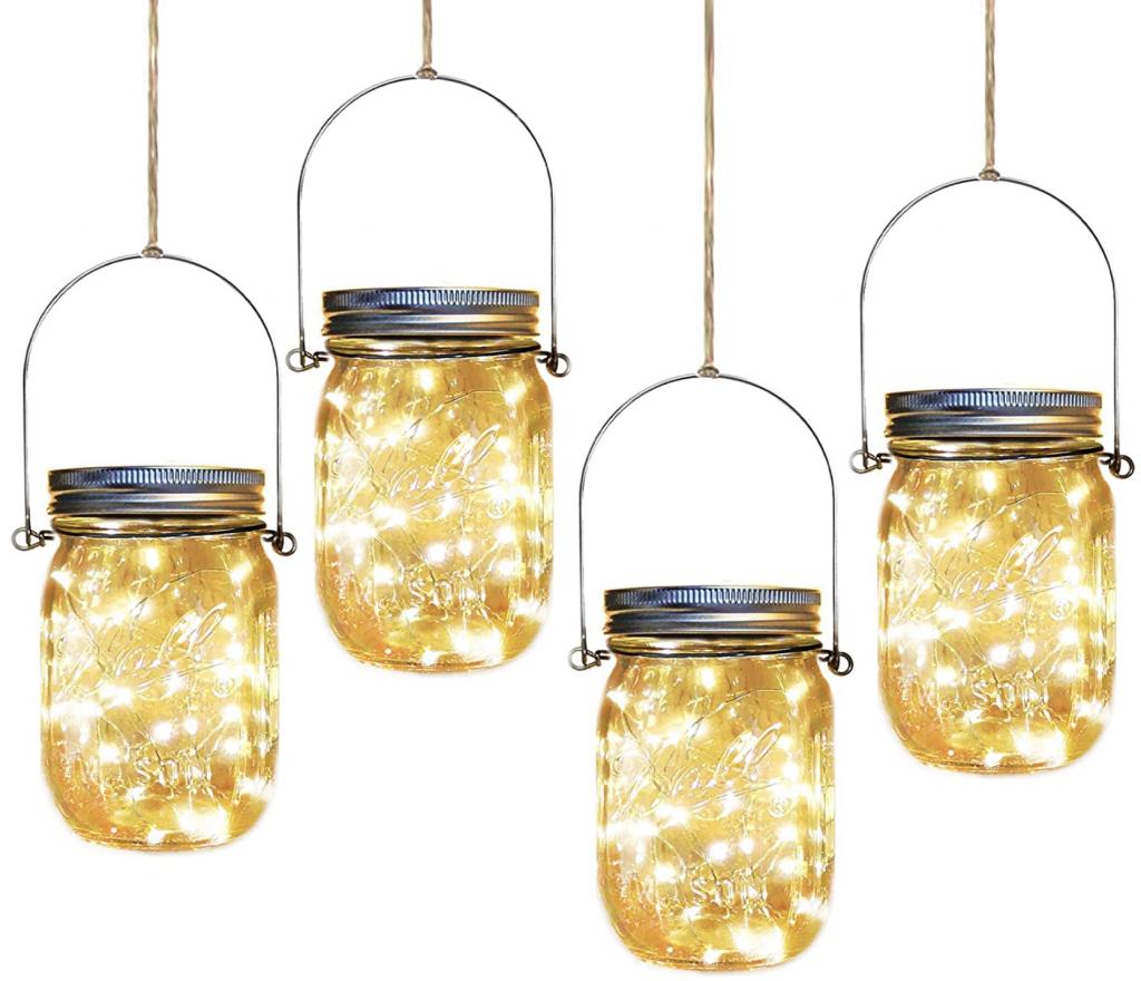 Mason Jar Fairy Lights Hanging Solar Garden Lights