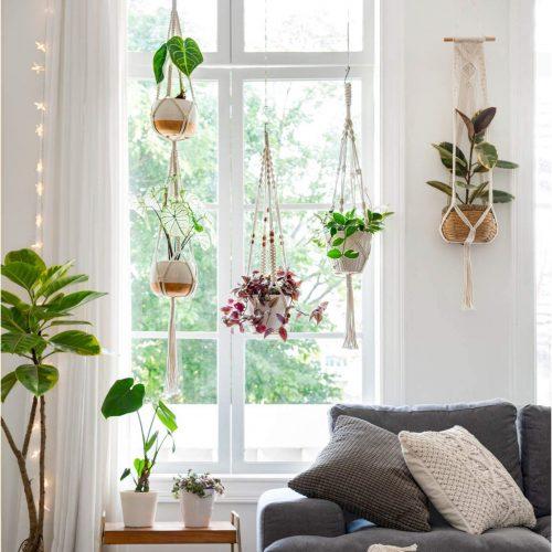 Mkono Set of $ Macrame Plant Hangers Handmade Cotton