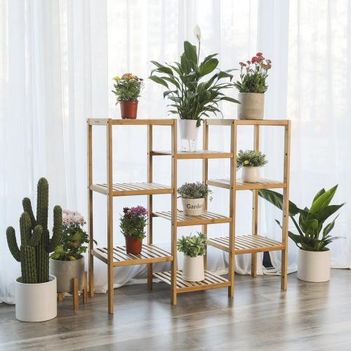 Natural Bamboo Customizable Plant Shelf Stand