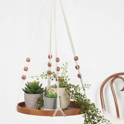 TIMEYARD Macrame Floating Plant Shelf Circular Wood Tray