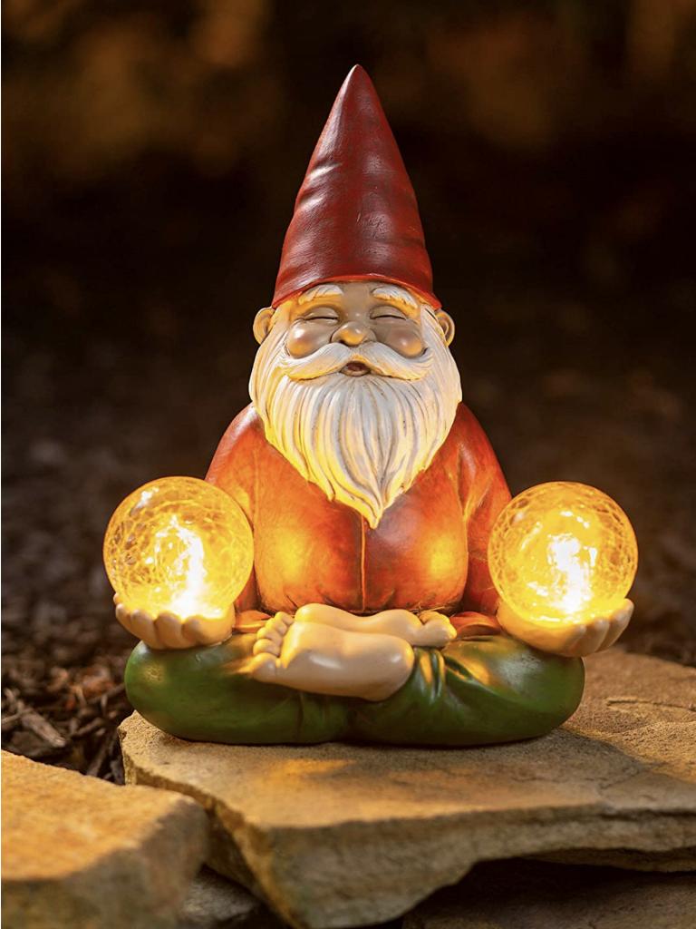 Zen Garden Gnome Solar Lantern Night