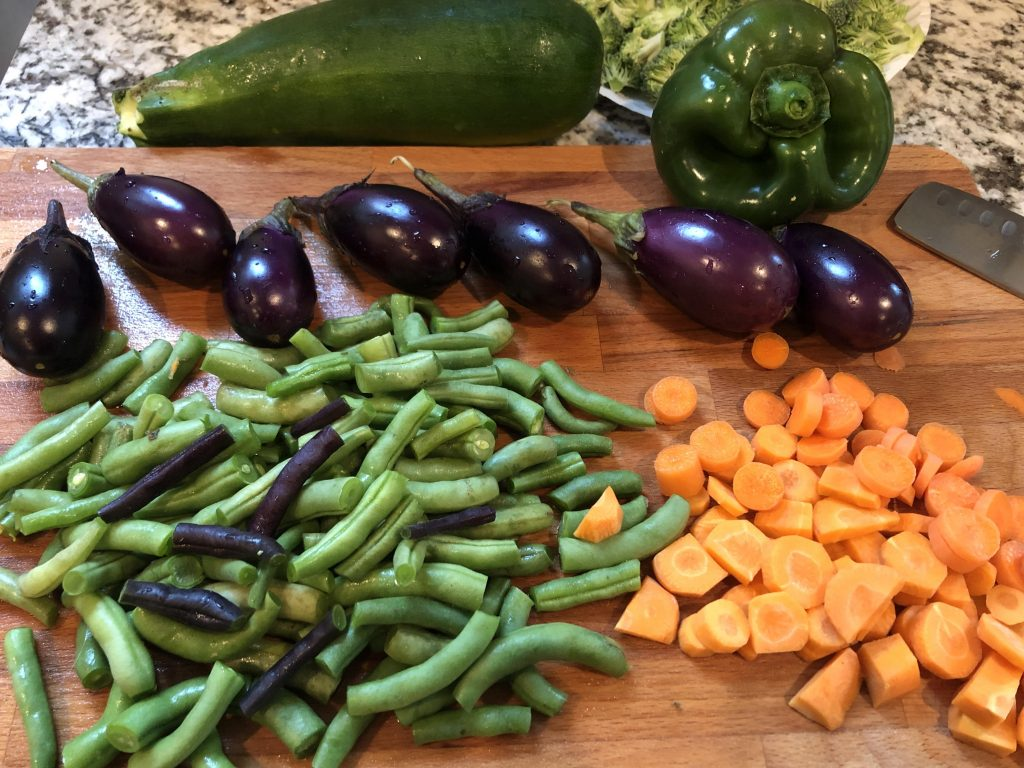 cutting up veggies