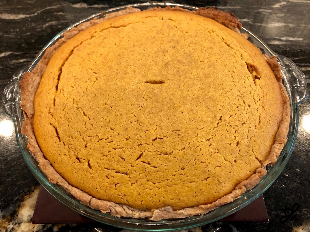 pumpkin pie hot out of the oven
