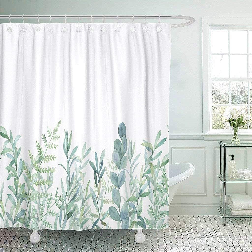 Floral Plant Pattern Shower Curtain